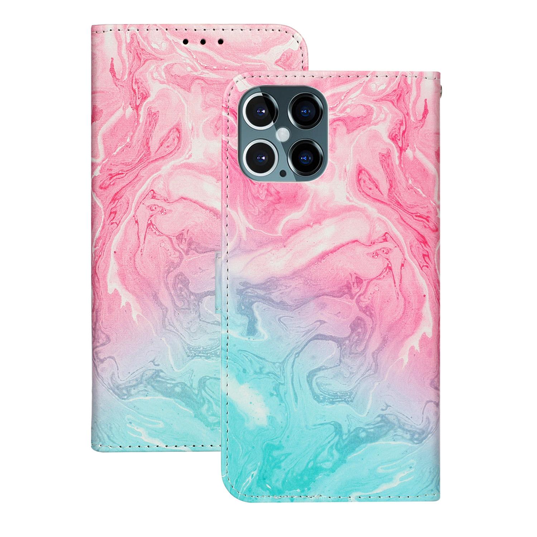 Marmorerat läderfodral, iPhone 12 Pro Max, rosa/blå