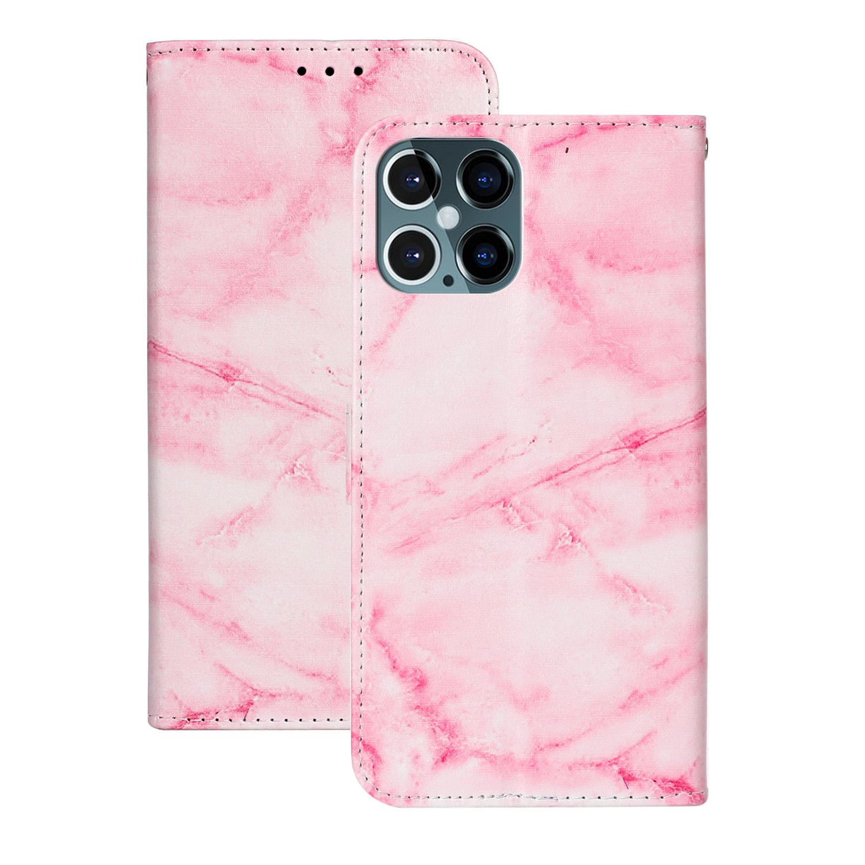 Marmorerat läderfodral, iPhone 12 Pro Max, rosa