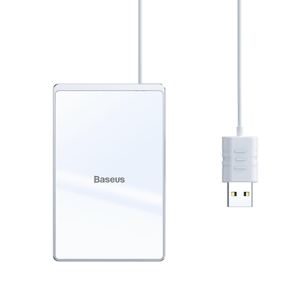 Baseus Card Ultratunn trådlös laddare+USB-kabel (1m), 15W, vit