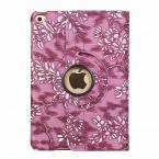 Läderfodral med blommor till iPad Mini 4/5, mörkrosa