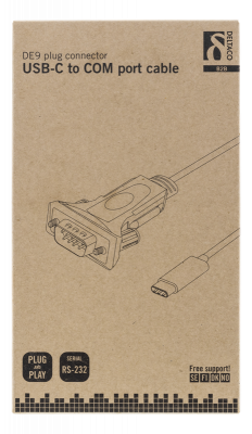 Deltaco USB‑C till seriell kabel, RS‑232, 1xDE9, 1.5m, svart