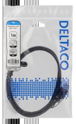 Deltaco USB3.1 Gen1 Förlängningskabel, 1m, USB‑A hane till hona