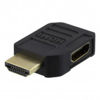 Deltaco HDMI-adapter, 19-pin ha-ho, vinklad vänster, svart