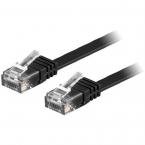Deltaco flat nätverkskabel U/UTP CAT6 svart, 15m