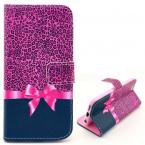 Läderfodral med ställ till iPhone 6, leopard/rosett