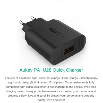 Aukey PA‑U28 Quick Charge, 1xUSB väggadapter, 2.1A