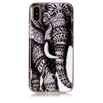 Ultratunt TPU skal med motiv av elefant, iPhone X/XS