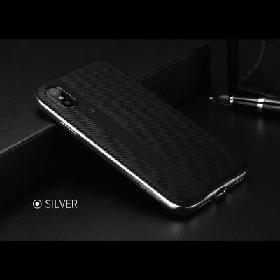 Joyroom skal med kolfiber look, iPhone X/XS, silver
