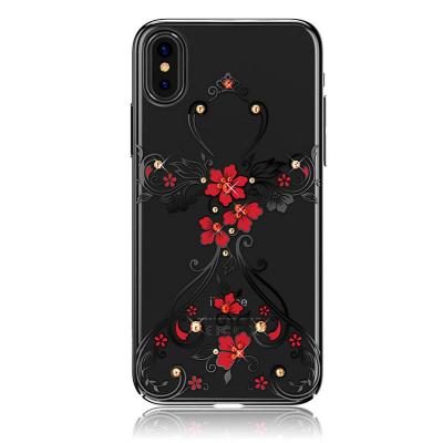Kingxbar transparent skal med motiv av blommor, iPhone X/XS