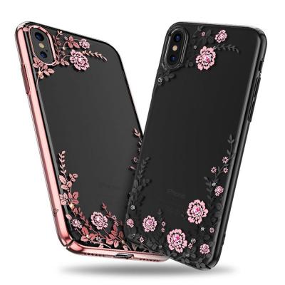 Kingxbar transparent skal med motiv rosa blommor, iPhone X/XS
