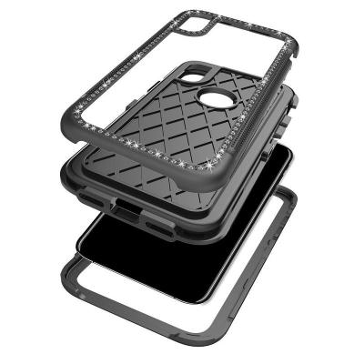 TPU skal med diamantram, iPhone X/XS, svart