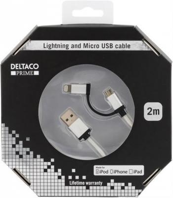 Deltaco PRIME USB tygbeklädd Lightning/Micro‑USB silver, 2m