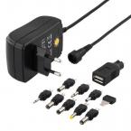 Nätadapter 110-230V till 3-12V DC 1.5 A USB utbytbara kontakter