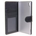 Gear plånboksfodral i läder svart, Sony Xperia Z3+