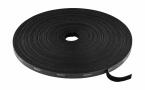 Deltaco kardborrband på rulle, bredd 10mm, 25m, svart