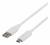 Deltaco USB 2.0 kabel, Typ C - Typ A ha, 0.25m, vit
