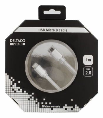 Deltaco PRIME USB‑C till MicroUSB‑kabel, USB 2.0, 1m, silver