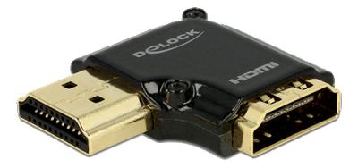 DeLOCK HDMI‑adapter, 19‑pin ho‑ha, vinklad 90° vänster,  svart