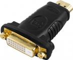 Deltaco guldpläterad HDMI-hane till DVI-D hona, 4.96Gbit/s