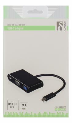 Deltaco USB‑C till VGA och USB‑adapter, 60W, svart