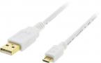 Deltaco MicroUSB-kabel, 2m, vit