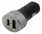 Deltaco billaddare med USB-C, Quick Charge 3.0, 6A, silver/svart