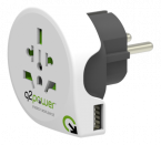 Q2power jordad reseadapter, 1xUSB, vit
