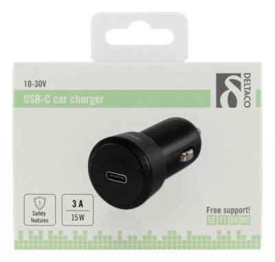 Deltaco Billaddare, 5V 3A 15W, USB‑C hona, svart