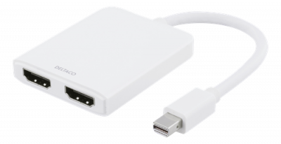 Deltaco Mini DP till HDMI-splitter, 2x HDMI, vit