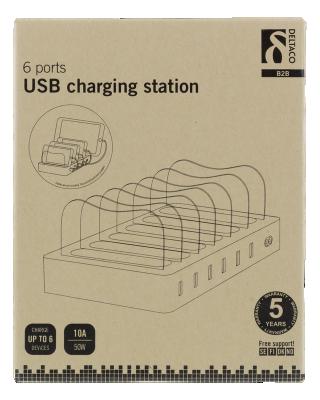 Deltaco USB‑laddningsstation, 6xUSB‑A portar, 5V DC, 10A, 50W