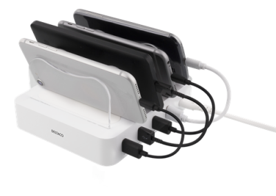 DELTACO USB‑laddningsstation, 4xUSB‑portar, 6.8A, 34W