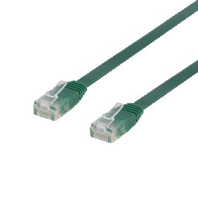 Deltaco nätverkskabel U/UTP Cat6, flat, 1m, 250MHz, grön