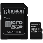 Kingston microSDHC Canvas Select 80R CL10 UHS-I Card+SD, 16GB