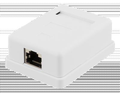 Deltaco skärmat vägguttag, utanpåliggande FTP 1xRJ45, Cat6, vit