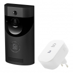 DELTACO SMART HOME Dörrklocka med kamera, WiFi, IR, svart