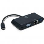 HP USB-C till VGA/USB-A/LAN-adapter, svart