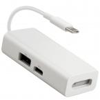 3-i-1 MagSafe till USB-C + USB-adapter, 20V, 3A, 60W, vit