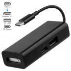 3-i-1 MagSafe till USB-C + USB-adapter, 20V, 3A, 60W, svart