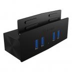 Icy Box 4 Port USB 3.0 Hubb, klämfäste, svart