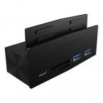 Icy Box 3-port USB 3.0 hubb och kortläsare, klämfäste, svart