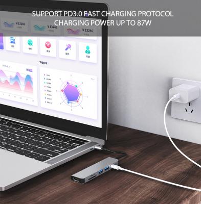 6‑i‑1 USB‑C hubb med kortläsare och HDMI, PD, 87W