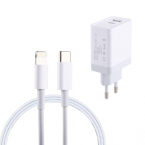 Snabbladdare USB-C till lightning kabel, 2.4A, iPhone/iPad, 1m