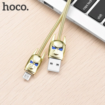 Hoco micro USB Shadow Knight LED, 1.2m, guld