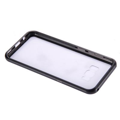 Metallram med skydd för baksida till Samsung Galaxy S8, svart