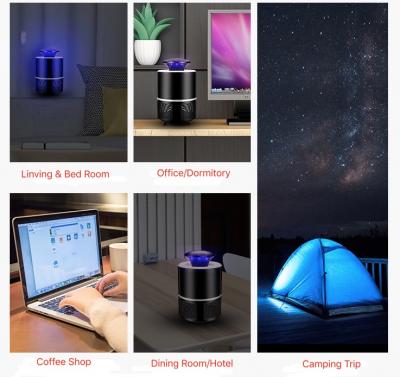 USB‑driven myggfälla med UV‑ljus, svart
