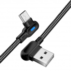 Vinklad MicroUSB-kabel med snabbladdning, LED, 2.4A, 2m