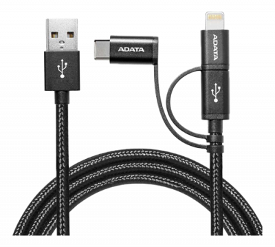 ADATA Micro‑USB/lighting/USB‑C, 1m, svart