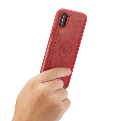 BRG Luxury plånboksfodral med ställ till iPhone XS Max, röd