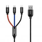 Baseus 3-in-1 snabbladdare, Lightning, USB-C, Micro-USB, 1.2m