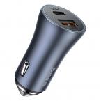 Baseus Billaddare med USB+USB-C uttag och snabbladdning, 40W